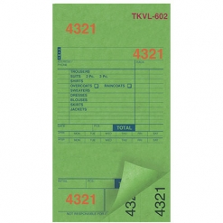 DRY CLEAN INVOICES/TAGS – GREEN – 3 PART – 1000/BOX (TKVL-602)