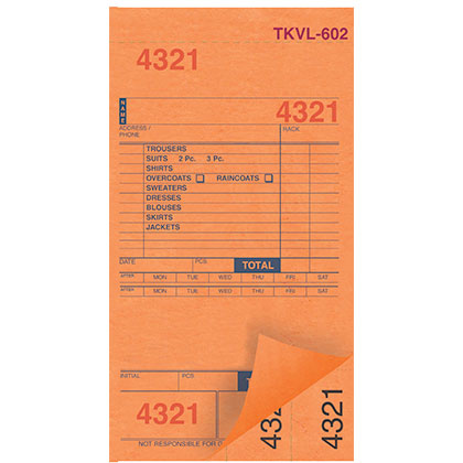 DRY CLEAN INVOICES/TAGS – ORANGE – 3 PART – 1000/BOX (TKVL-602)