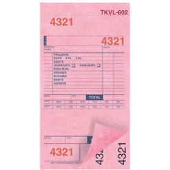 DRY CLEAN INVOICES/TAGS – PINK – 3 PART – 1000/BOX (TKVL-602)