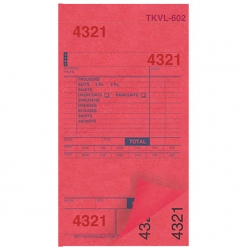 DRY CLEAN INVOICES/TAGS – RED – 3 PART – 1000/BOX (TKVL-602)