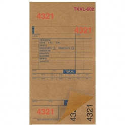 DRY CLEAN INVOICES/TAGS – TAN – 3 PART – 1000/BOX (TKVL-602)