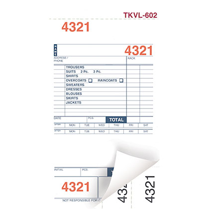 DRY CLEAN INVOICES/TAGS – WHITE – 3 PART – 1000/BOX (TKVL-602)