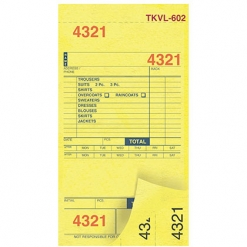 DRY CLEAN INVOICES/TAGS – YELLOW – 3 PART – 1000/BOX (TKVL-602)