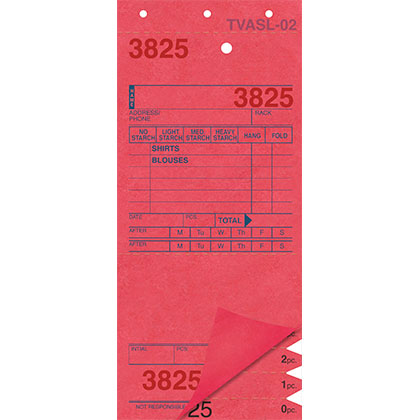 SHIRT INVOICES/TAGS – RED – 3 PART – 1000/BOX (Stry-Lenkoff - TVASL-02)