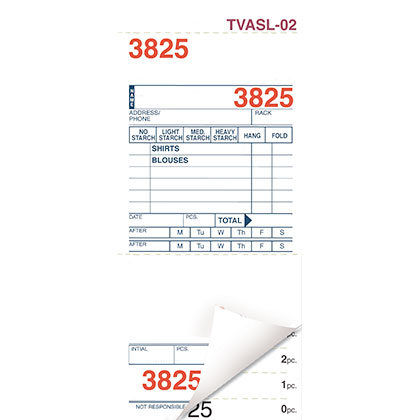 SHIRT INVOICES/TAGS – WHITE – 3 PART – 1000/BOX (Stry-Lenkoff - TVASL-02)