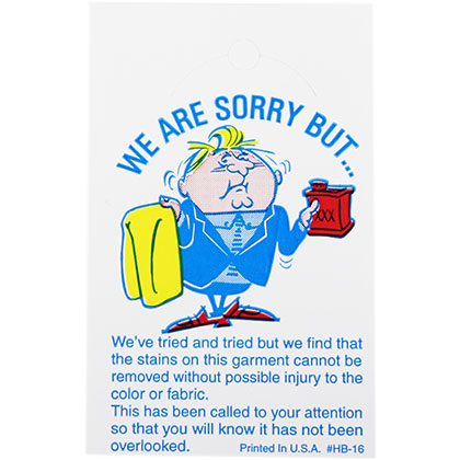 HANGER BUTTON TAG – WE ARE SORRY BUT… – 1000/BOX (4220)
